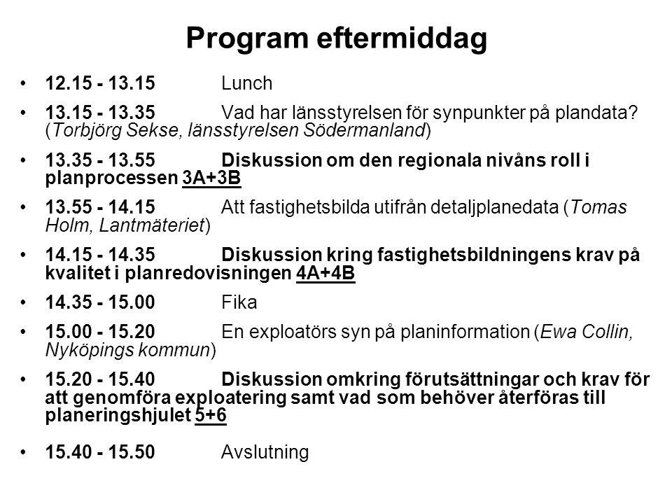 Program eftermiddag •12.15 - 13.15 Lunch •13.15 - 13.35 Vad har länsstyrelsen för synpunkter på plandata? (Torbjörg Sekse, länsstyrelsen Södermanland)