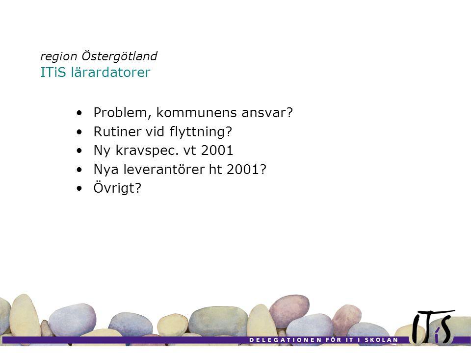 region Östergötland ITiS lärardatorer •Problem, kommunens ansvar.