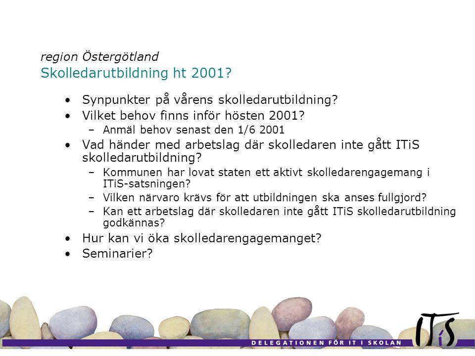 region Östergötland Skolledarutbildning ht 2001. •Synpunkter på vårens skolledarutbildning.