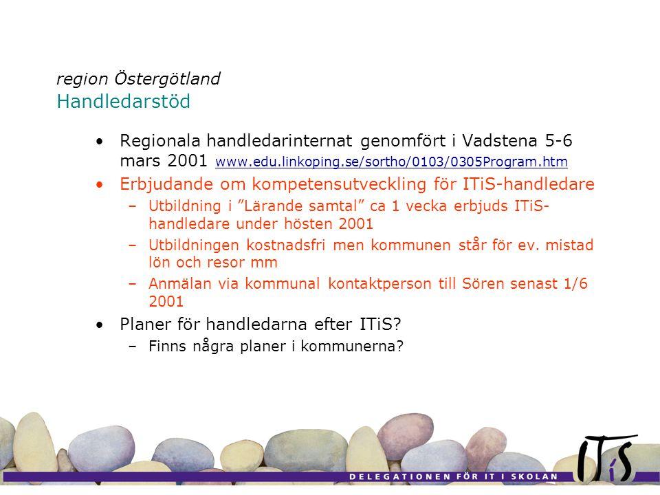 region Östergötland Handledarstöd •Regionala handledarinternat genomfört i Vadstena 5-6 mars 2001 www.edu.linkoping.se/sortho/0103/0305Program.htm www.edu.linkoping.se/sortho/0103/0305Program.htm •Erbjudande om kompetensutveckling för ITiS-handledare –Utbildning i Lärande samtal ca 1 vecka erbjuds ITiS- handledare under hösten 2001 –Utbildningen kostnadsfri men kommunen står för ev.