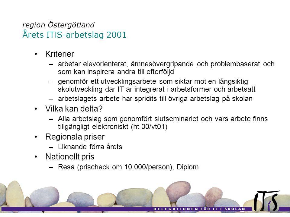 region Östergötland Årets ITiS-arbetslag 2001 •Kriterier –arbetar elevorienterat, ämnesövergripande och problembaserat och som kan inspirera andra till efterföljd –genomför ett utvecklingsarbete som siktar mot en långsiktig skolutveckling där IT är integrerat i arbetsformer och arbetsätt –arbetslagets arbete har spridits till övriga arbetslag på skolan •Vilka kan delta.