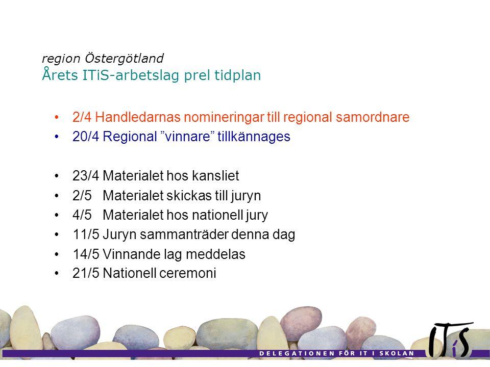 region Östergötland Årets ITiS-arbetslag prel tidplan •2/4 Handledarnas nomineringar till regional samordnare •20/4 Regional vinnare tillkännages •23/4 Materialet hos kansliet •2/5 Materialet skickas till juryn •4/5 Materialet hos nationell jury •11/5 Juryn sammanträder denna dag •14/5 Vinnande lag meddelas •21/5 Nationell ceremoni