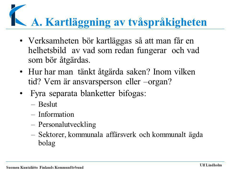 Suomen Kuntaliitto Finlands Kommunförbund Ulf Lindholm A.