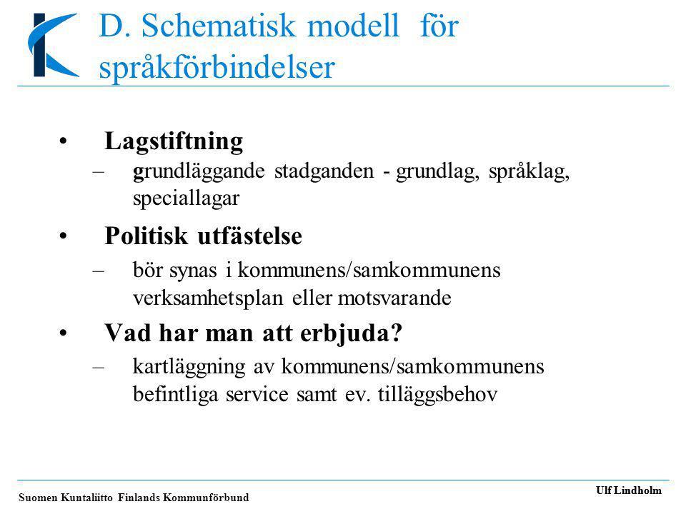 Suomen Kuntaliitto Finlands Kommunförbund Ulf Lindholm D.