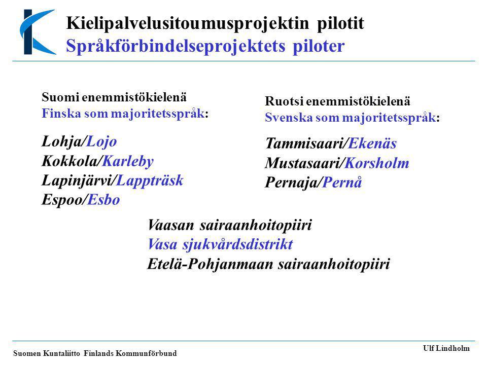 Suomen Kuntaliitto Finlands Kommunförbund Ulf Lindholm Tvåspråkiga kommuner: Pilotkommuner Minoritet KommunSpråk-InvånareSvensk-Finsk- förh.31.12.2003språkiga språkiga EsboFS221 5979,3 % LappträskFS2 97734,9 % Pernå (31.12.2002) SF3 82736 % Lojo (31.12.2002) FS35 6474,3 % EkenäsSF14 48916,2 % KorsholmSF1702827 % KarlebyFS35 58318,1 % Vasa svdSF166 00049 % Etelä-PohjanmaanF194 000 shp