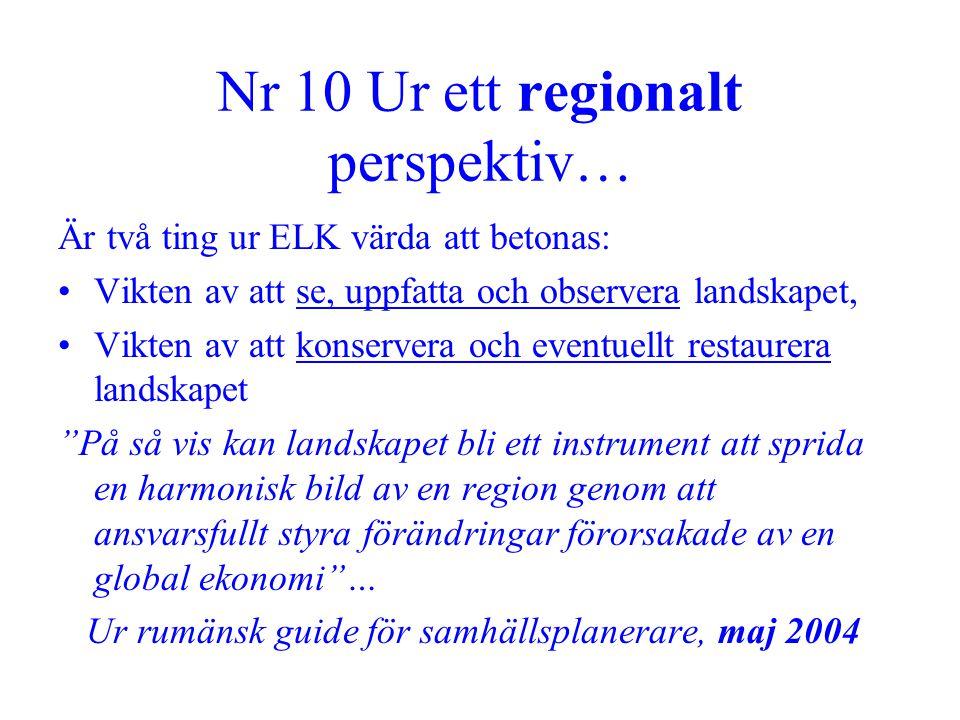 Nr 10 Ur ett regionalt perspektiv… Är två ting ur ELK värda att betonas: •Vikten av att se, uppfatta och observera landskapet, •Vikten av att konserve