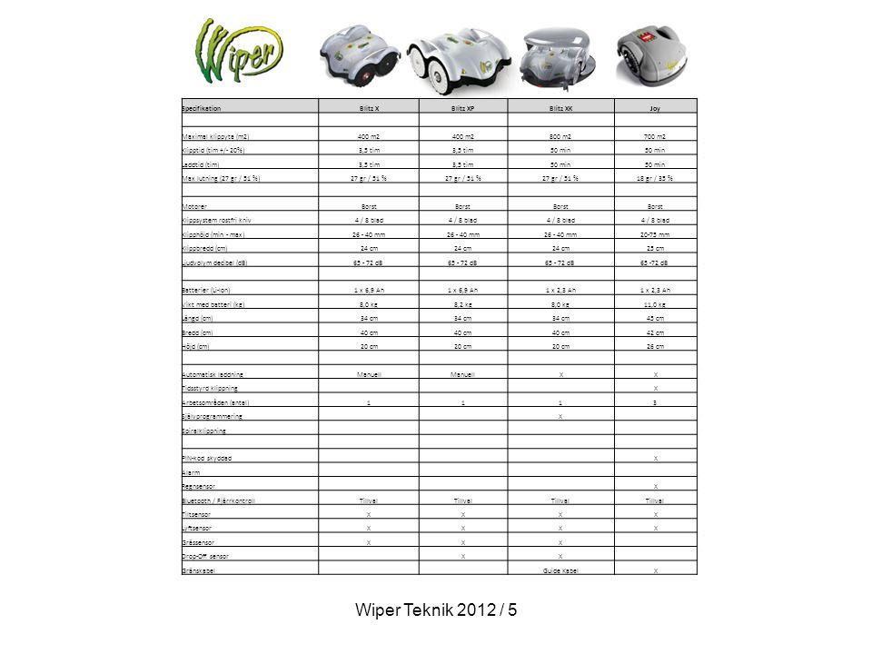 SpecifikationBlitz XBlitz XPBlitz XKJoy Maximal klippyta (m2)400 m2 800 m2700 m2 Klipptid (tim +/- 20%)3,5 tim 50 min Laddtid (tim)3,5 tim 50 min Max lutning (27 gr / 51 %)27 gr / 51 % 18 gr / 35 % MotorerBorst Klippsystem rostfri kniv4 / 8 blad Klipphöjd (min - max)26 - 40 mm 20-75 mm Klippbredd (cm)24 cm 25 cm Ljudvolym decibel (dB)65 - 72 dB Batterier (Li-Ion)1 x 6,9 Ah 1 x 2,3 Ah Vikt med batteri (kg)8,0 kg8,2 kg8,0 kg11,0 kg Längd (cm)34 cm 45 cm Bredd (cm)40 cm 42 cm Höjd (cm)20 cm 26 cm Automatisk laddningManuell X X Tidsstyrd klippning X Arbetsområden (antal)1113 Självprogrammering X Spiralklippning PIN-kod skyddad X Alarm Regnsensor X Bluetooth / FjärrkontrollTillval TiltsensorXXX X LyftsensorXXX X GrässensorXXX Drop-Off sensor XX Gränskabel Guide Kabel X