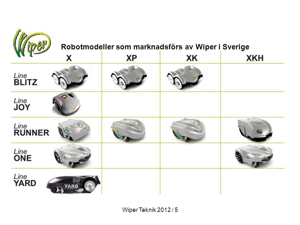 Robotmodeller som marknadsförs av Wiper i Sverige Wiper Teknik 2012 / 5