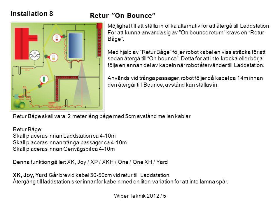 Wiper Teknik 2012 / 5 Retur On Bounce Möjlighet till att ställa in olika alternativ för att återgå till Laddstation För att kunna använda sig av On bounce return krävs en Retur Båge .