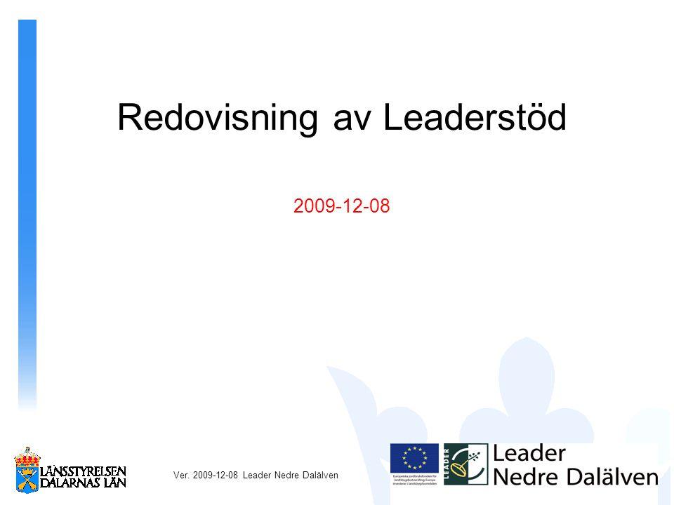 Redovisning av Leaderstöd 2009-12-08 Ver. 2009-12-08 Leader Nedre Dalälven