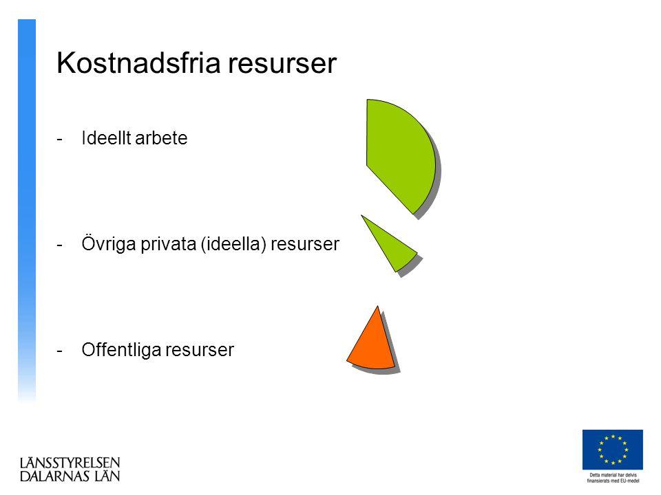 Kostnadsfria resurser -Ideellt arbete -Övriga privata (ideella) resurser -Offentliga resurser