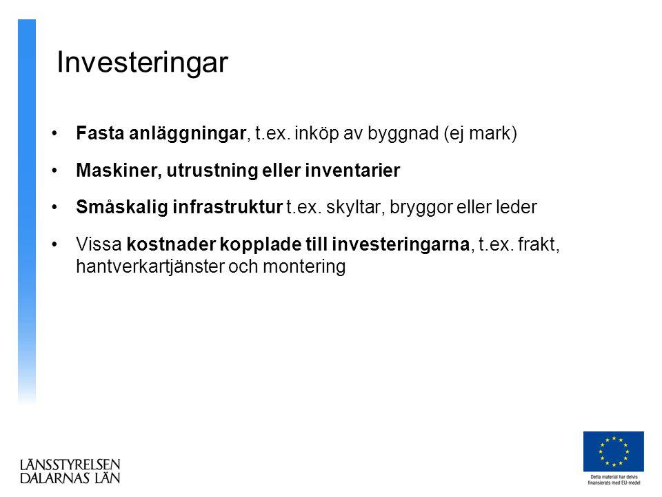 Investeringar •Fasta anläggningar, t.ex.