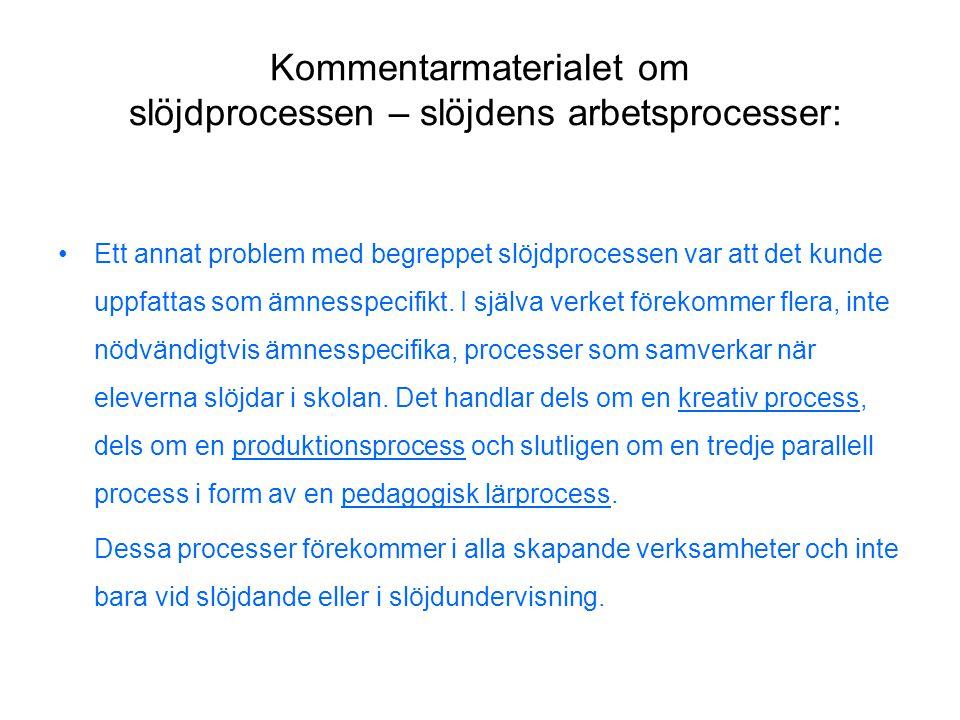 Kommentarmaterialet om slöjdprocessen – slöjdens arbetsprocesser: •Ett annat problem med begreppet slöjdprocessen var att det kunde uppfattas som ämnesspecifikt.