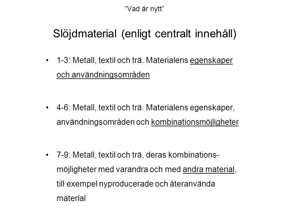 Vad är nytt Slöjdmaterial (enligt centralt innehåll) •1-3: Metall, textil och trä.