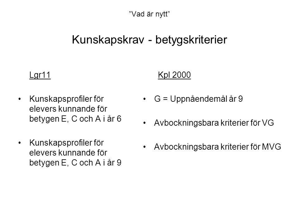 Vad är nytt Kunskapskrav - betygskriterier Lgr11 •Kunskapsprofiler för elevers kunnande för betygen E, C och A i år 6 •Kunskapsprofiler för elevers kunnande för betygen E, C och A i år 9 Kpl 2000 •G = Uppnåendemål år 9 •Avbockningsbara kriterier för VG •Avbockningsbara kriterier för MVG