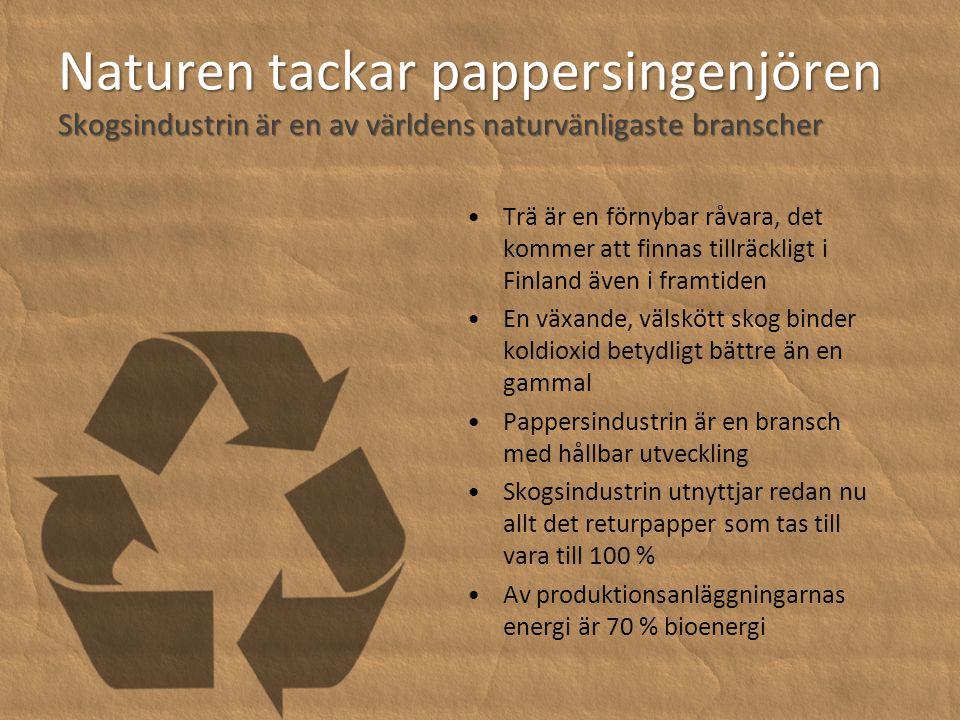 Naturen tackar pappersingenjören Skogsindustrin är en av världens naturvänligaste branscher •Trä är en förnybar råvara, det kommer att finnas tillräckligt i Finland även i framtiden •En växande, välskött skog binder koldioxid betydligt bättre än en gammal •Pappersindustrin är en bransch med hållbar utveckling •Skogsindustrin utnyttjar redan nu allt det returpapper som tas till vara till 100 % •Av produktionsanläggningarnas energi är 70 % bioenergi