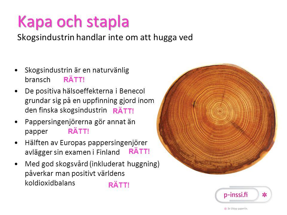 Kapa och stapla Kapa och stapla Skogsindustrin handlar inte om att hugga ved •Skogsindustrin är en naturvänlig bransch •De positiva hälsoeffekterna i Benecol grundar sig på en uppfinning gjord inom den finska skogsindustrin •Pappersingenjörerna gör annat än papper •Hälften av Europas pappersingenjörer avlägger sin examen i Finland •Med god skogsvård (inkluderat huggning) påverkar man positivt världens koldioxidbalans RÄTT!