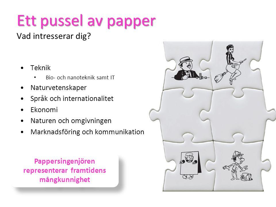 Ett pussel av papper Ett pussel av papper Vad intresserar dig? •Teknik • Bio- och nanoteknik samt IT •Naturvetenskaper •Språk och internationalitet •E