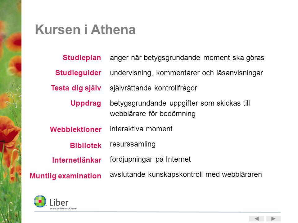 Kursen i Athena anger när betygsgrundande moment ska göras undervisning, kommentarer och läsanvisningar självrättande kontrollfrågor betygsgrundande u