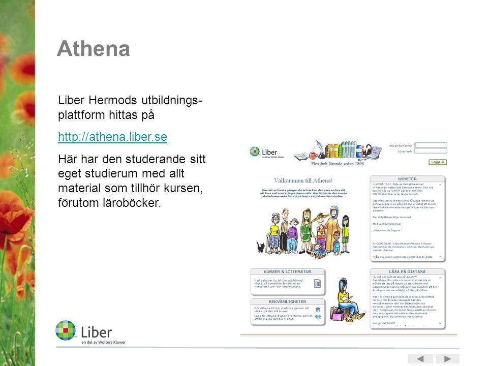 Athena Liber Hermods utbildnings- plattform hittas på http://athena.liber.se Här har den studerande sitt eget studierum med allt material som tillhör