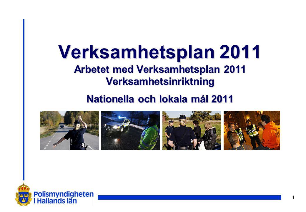 1 Verksamhetsplan 2011 Arbetet med Verksamhetsplan 2011 Verksamhetsinriktning Nationella och lokala mål 2011