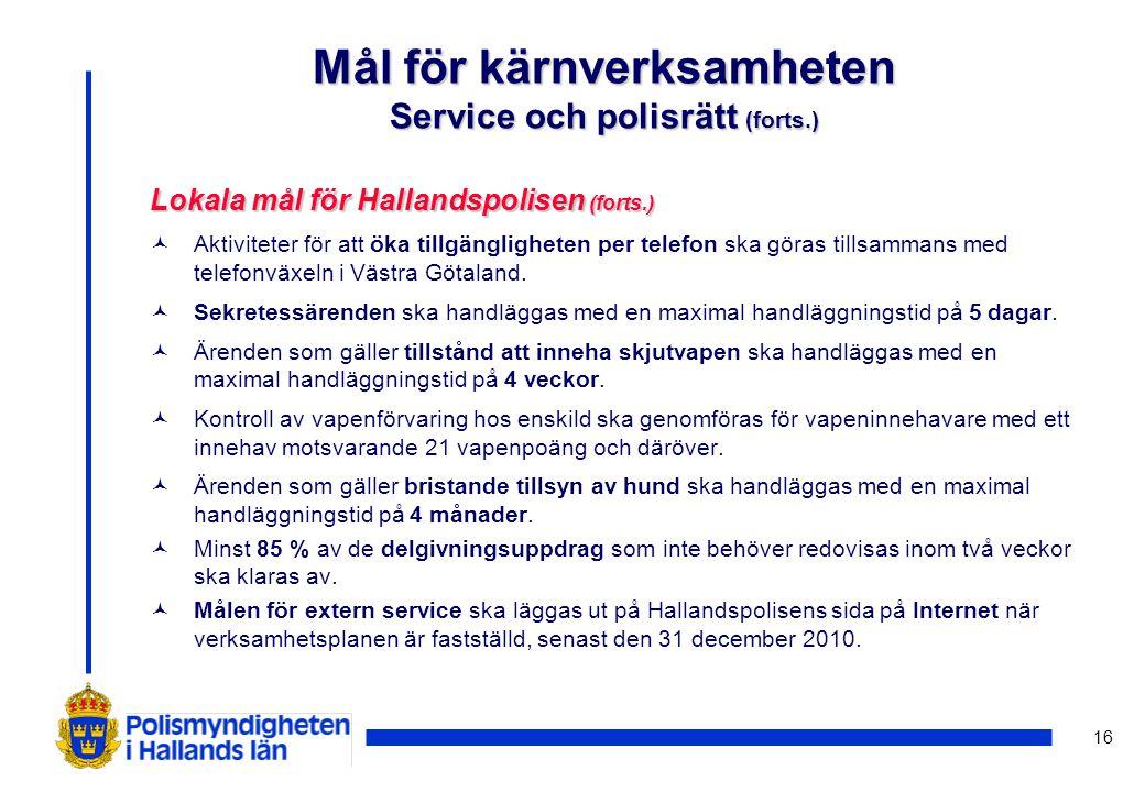 16 Lokala mål för Hallandspolisen (forts.) ©Aktiviteter för att öka tillgängligheten per telefon ska göras tillsammans med telefonväxeln i Västra Göta