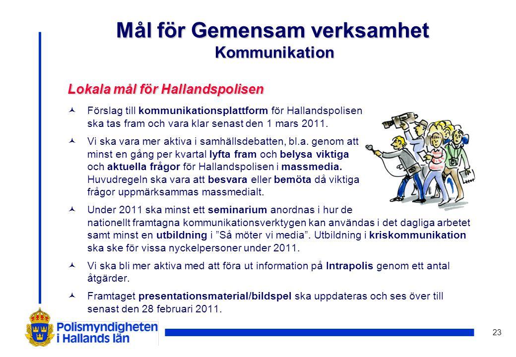 23 Lokala mål för Hallandspolisen © Förslag till kommunikationsplattform för Hallandspolisen ska tas fram och vara klar senast den 1 mars 2011. © Vi s