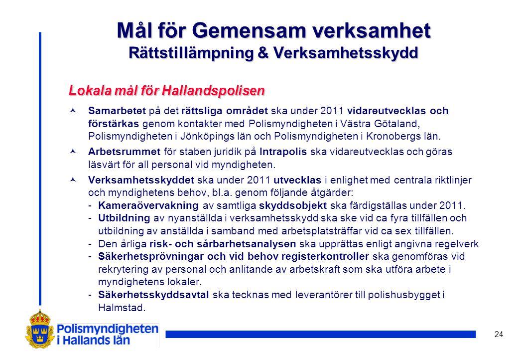 24 Lokala mål förHallandspolisen Lokala mål för Hallandspolisen ©Samarbetet på det rättsliga området ska under 2011 vidareutvecklas och förstärkas gen