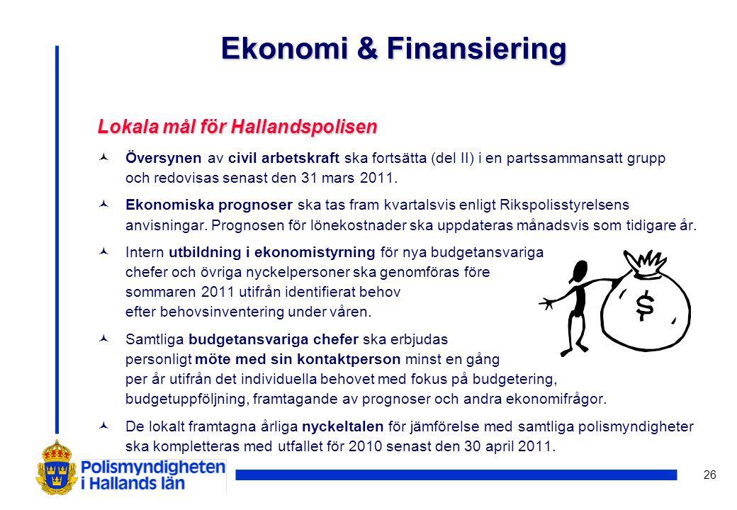 26 Lokala mål för Hallandspolisen © Översynen av civil arbetskraft ska fortsätta (del II) i en partssammansatt grupp och redovisas senast den 31 mars