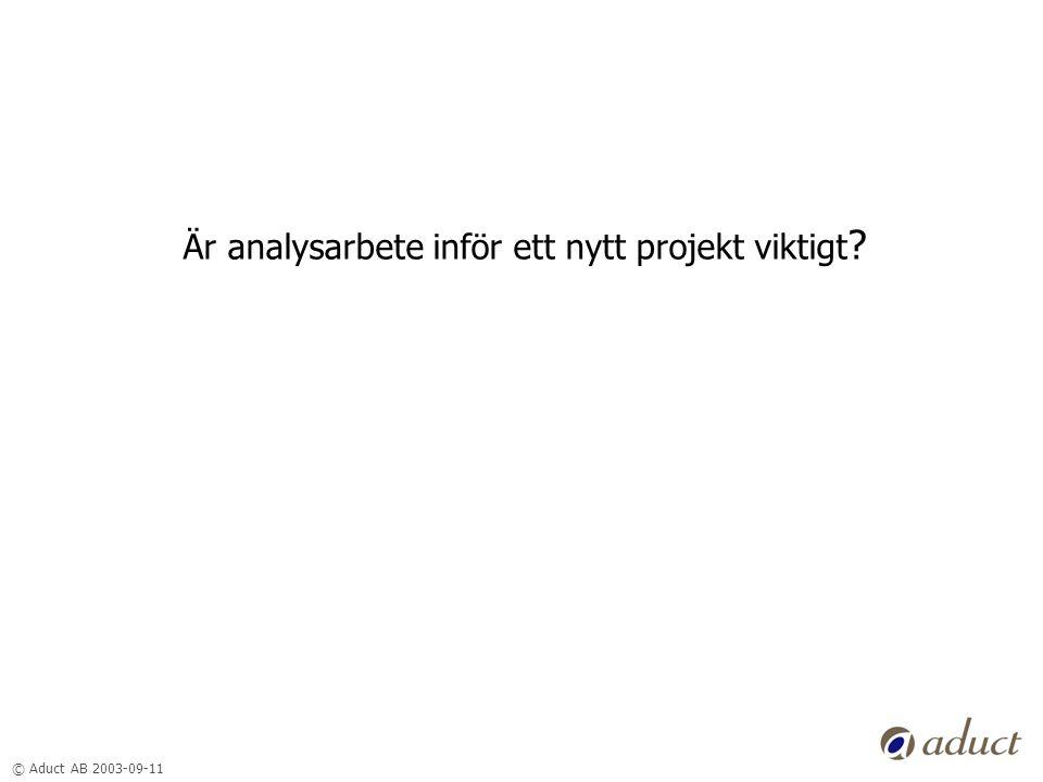 © Aduct AB 2003-09-11 Är analysarbete inför ett nytt projekt viktigt ?