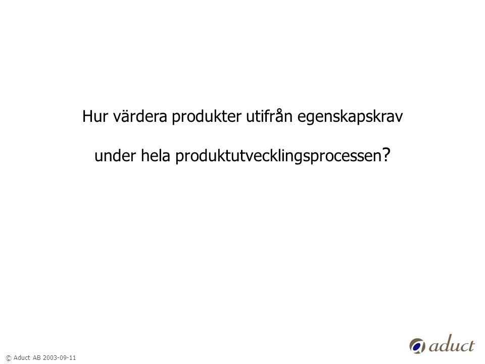 © Aduct AB 2003-09-11 Hur värdera produkter utifrån egenskapskrav under hela produktutvecklingsprocessen ?