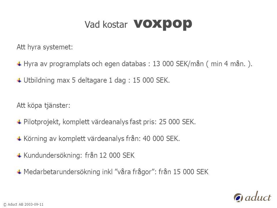 © Aduct AB 2003-09-11 Vad kostar voxpop Att hyra systemet: Hyra av programplats och egen databas : 13 000 SEK/mån ( min 4 mån. ). Utbildning max 5 del