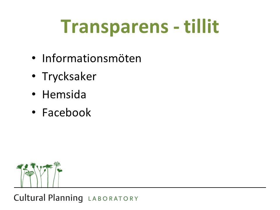 Transparens - tillit • Informationsmöten • Trycksaker • Hemsida • Facebook