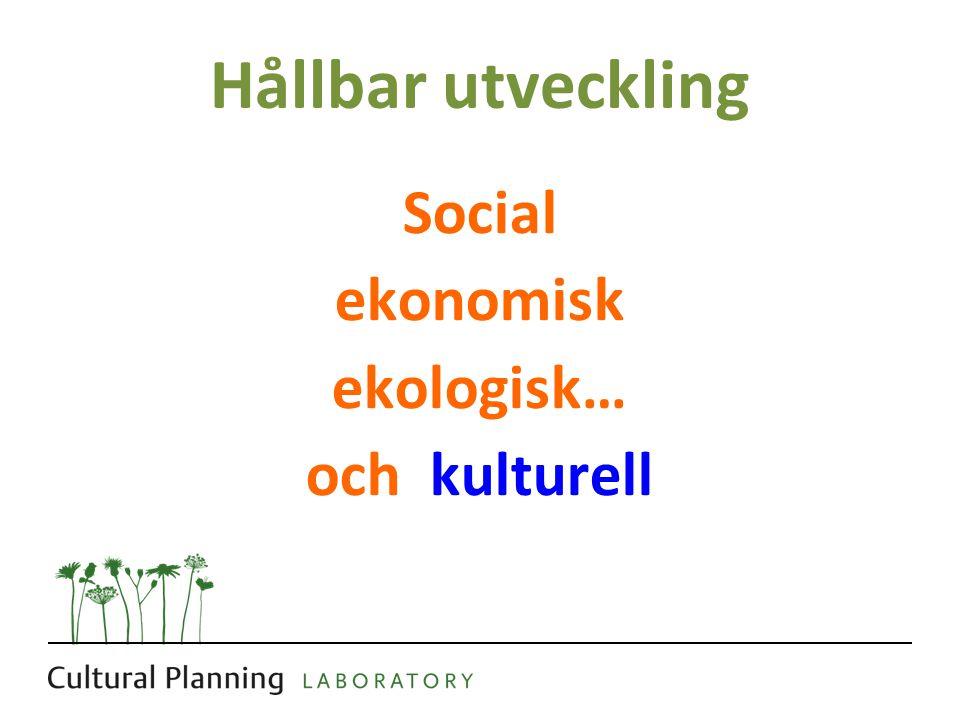 Hållbar utveckling Social ekonomisk ekologisk… och kulturell