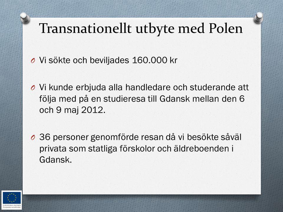 Transnationellt utbyte med Polen O Vi sökte och beviljades 160.000 kr O Vi kunde erbjuda alla handledare och studerande att följa med på en studieresa