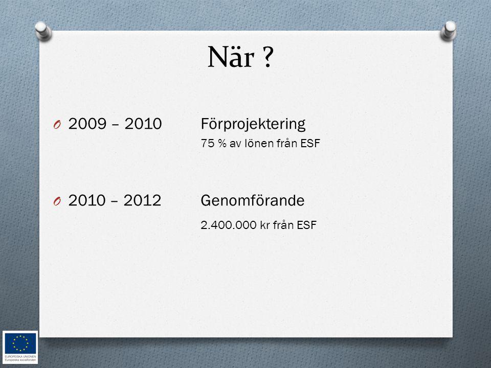 När ? O 2009 – 2010Förprojektering 75 % av lönen från ESF O 2010 – 2012Genomförande 2.400.000 kr från ESF