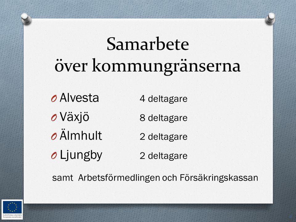 Samarbete över kommungränserna O Alvesta 4 deltagare O Växjö 8 deltagare O Älmhult 2 deltagare O Ljungby 2 deltagare samt Arbetsförmedlingen och Försä