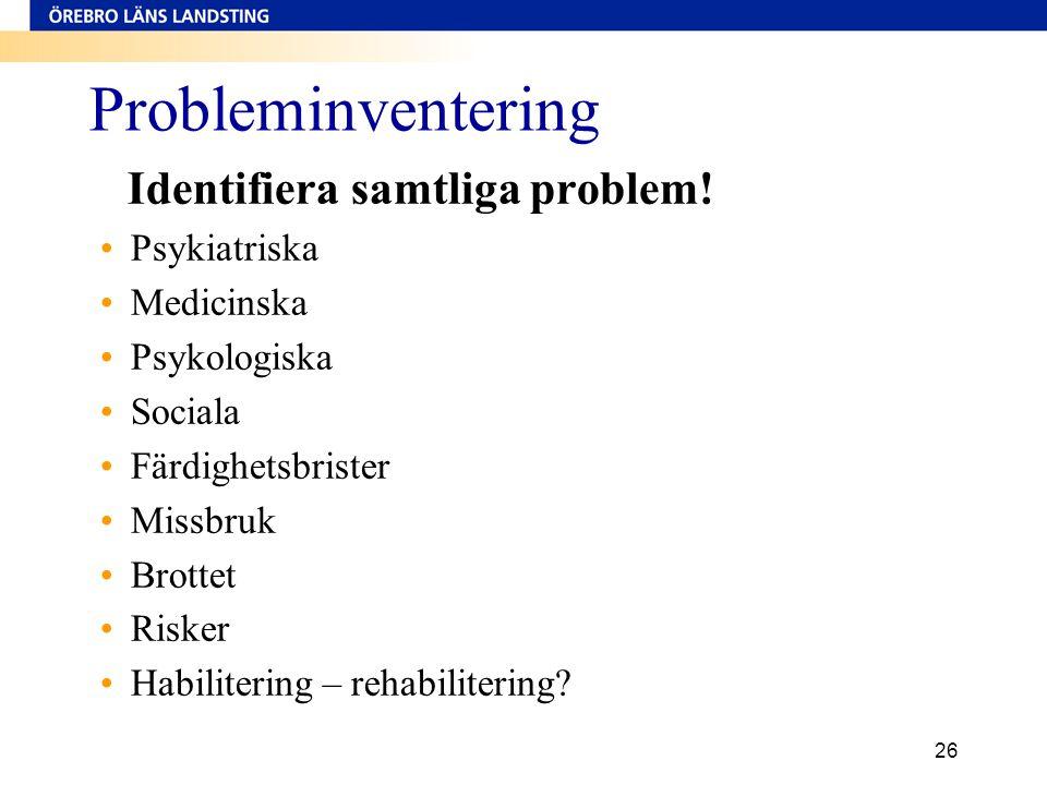 26 Probleminventering Identifiera samtliga problem! •Psykiatriska •Medicinska •Psykologiska •Sociala •Färdighetsbrister •Missbruk •Brottet •Risker •Ha