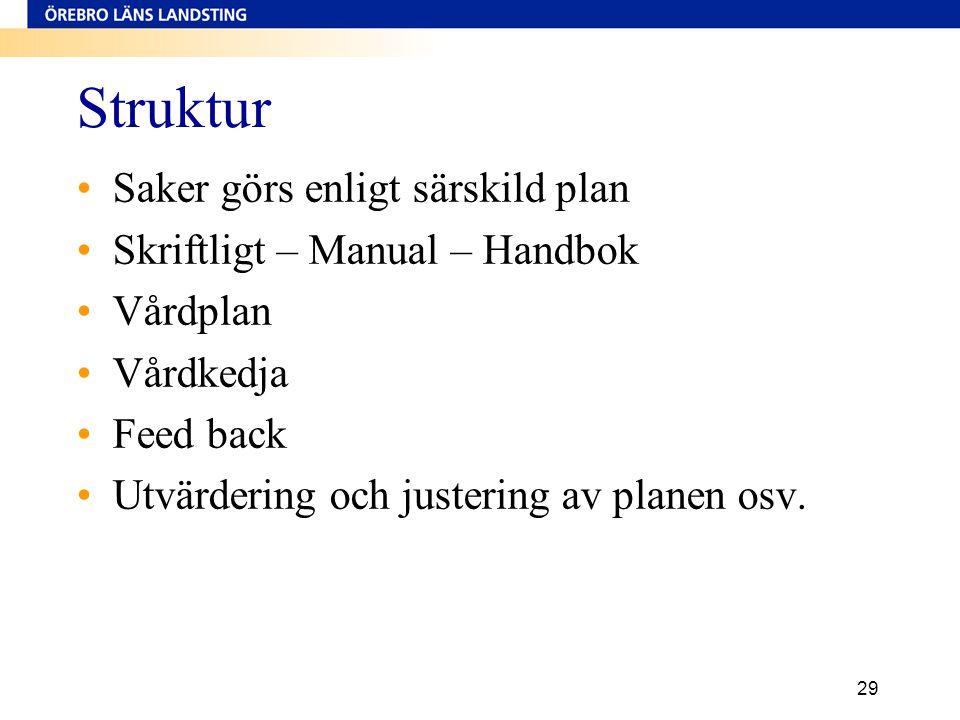 29 Struktur •Saker görs enligt särskild plan •Skriftligt – Manual – Handbok •Vårdplan •Vårdkedja •Feed back •Utvärdering och justering av planen osv.