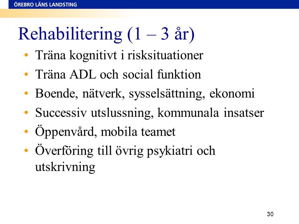 Rehabilitering (1 – 3 år) •Träna kognitivt i risksituationer •Träna ADL och social funktion •Boende, nätverk, sysselsättning, ekonomi •Successiv utslu