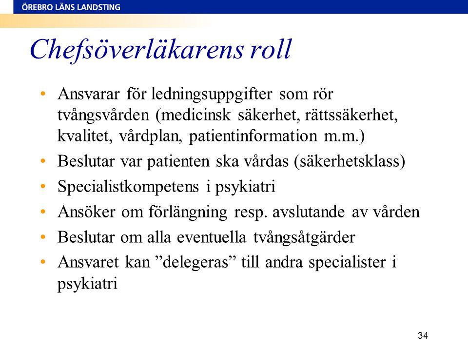 Chefsöverläkarens roll •Ansvarar för ledningsuppgifter som rör tvångsvården (medicinsk säkerhet, rättssäkerhet, kvalitet, vårdplan, patientinformation