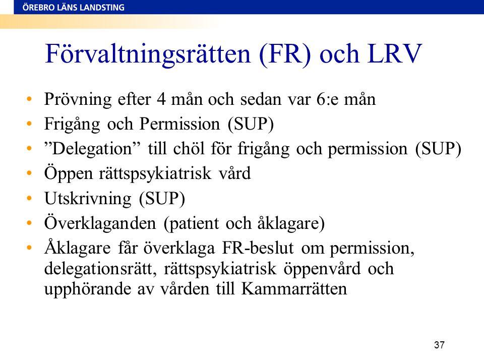 """37 Förvaltningsrätten (FR) och LRV •Prövning efter 4 mån och sedan var 6:e mån •Frigång och Permission (SUP) •""""Delegation"""" till chöl för frigång och p"""