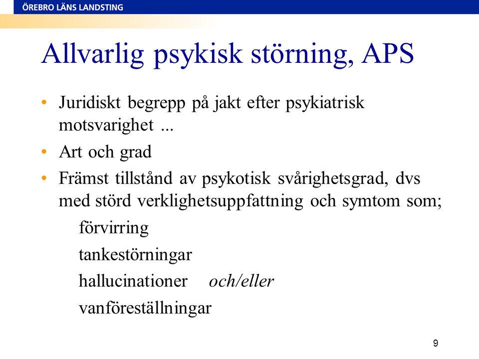 9 Allvarlig psykisk störning, APS •Juridiskt begrepp på jakt efter psykiatrisk motsvarighet... •Art och grad •Främst tillstånd av psykotisk svårighets