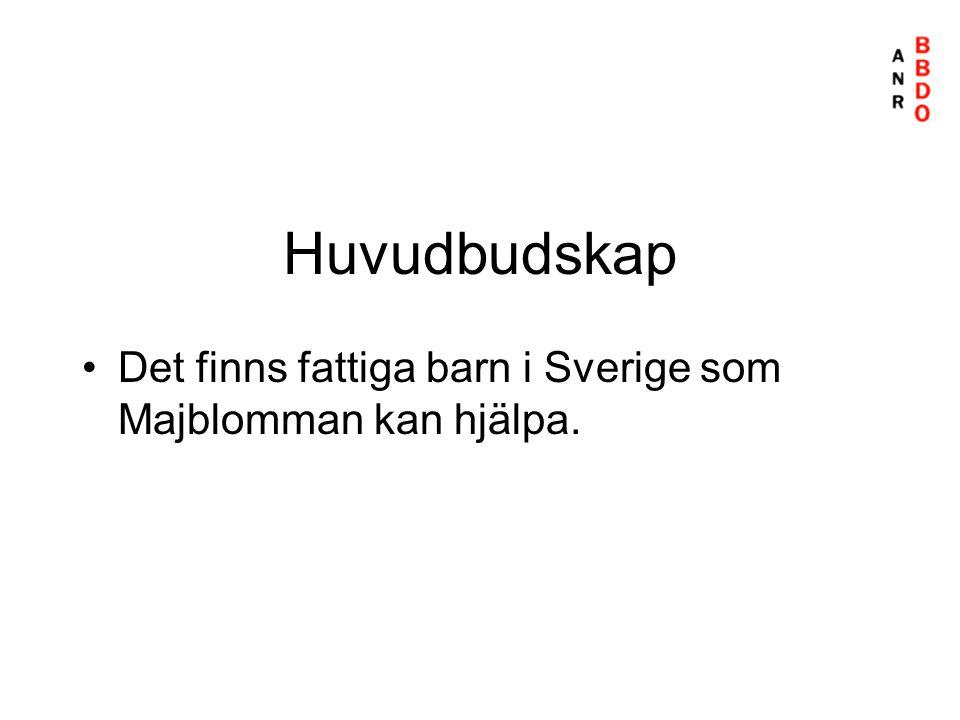 Huvudbudskap •Det finns fattiga barn i Sverige som Majblomman kan hjälpa.
