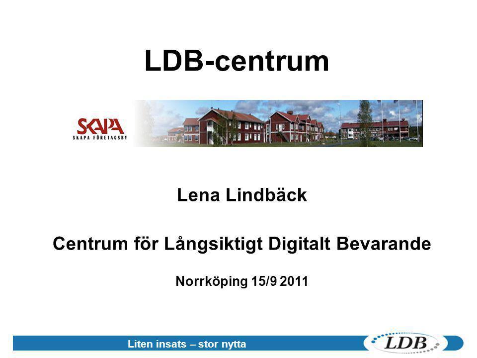 Liten insats – stor nytta LDB-centrum Lena Lindbäck Centrum för Långsiktigt Digitalt Bevarande Norrköping 15/9 2011