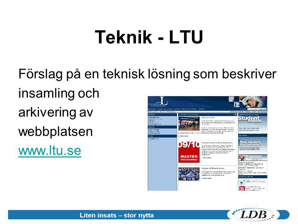 Teknik - LTU Förslag på en teknisk lösning som beskriver insamling och arkivering av webbplatsen www.ltu.se Liten insats – stor nytta