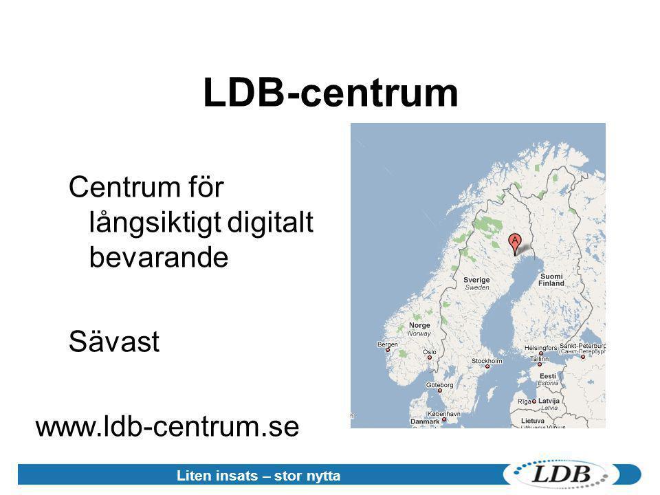 Historia •Arkivutredningen (2001 - 2002) •LDB-projektet (2004 - 2006) •LDB-centrum (2006 -> ) Liten insats – stor nytta