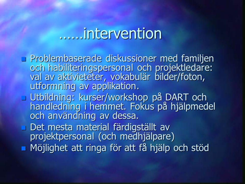 ……intervention n Problembaserade diskussioner med familjen och habiliteringspersonal och projektledare: val av aktivieteter, vokabulär bilder/foton, u
