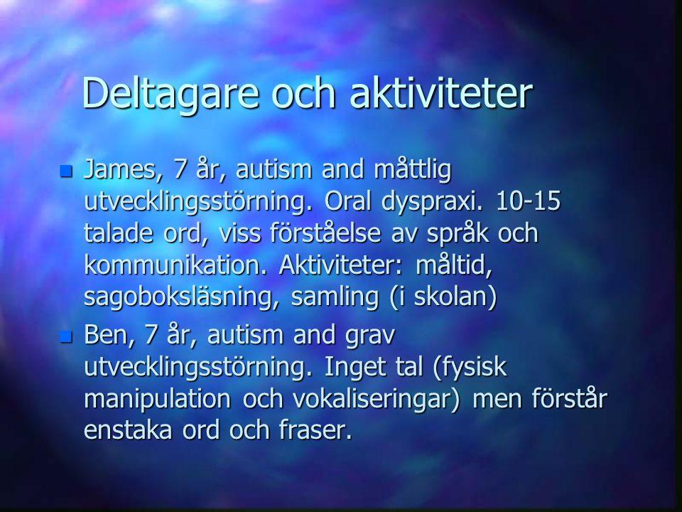 Deltagare och aktiviteter n James, 7 år, autism and måttlig utvecklingsstörning. Oral dyspraxi. 10-15 talade ord, viss förståelse av språk och kommuni