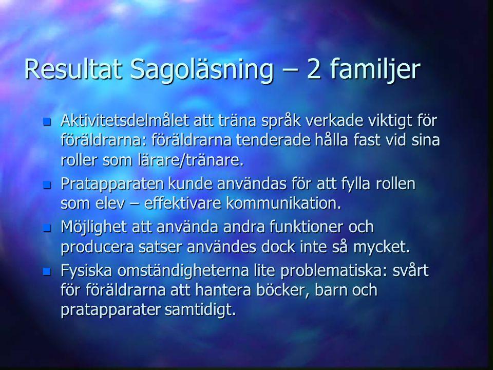 Resultat Sagoläsning – 2 familjer n Aktivitetsdelmålet att träna språk verkade viktigt för föräldrarna: föräldrarna tenderade hålla fast vid sina roll